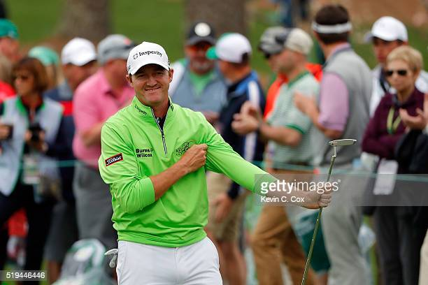 Jimmy Walker of the United States reacts during the Par 3 Contest prior to the start of the 2016 Masters Tournament at Augusta National Golf Club on...