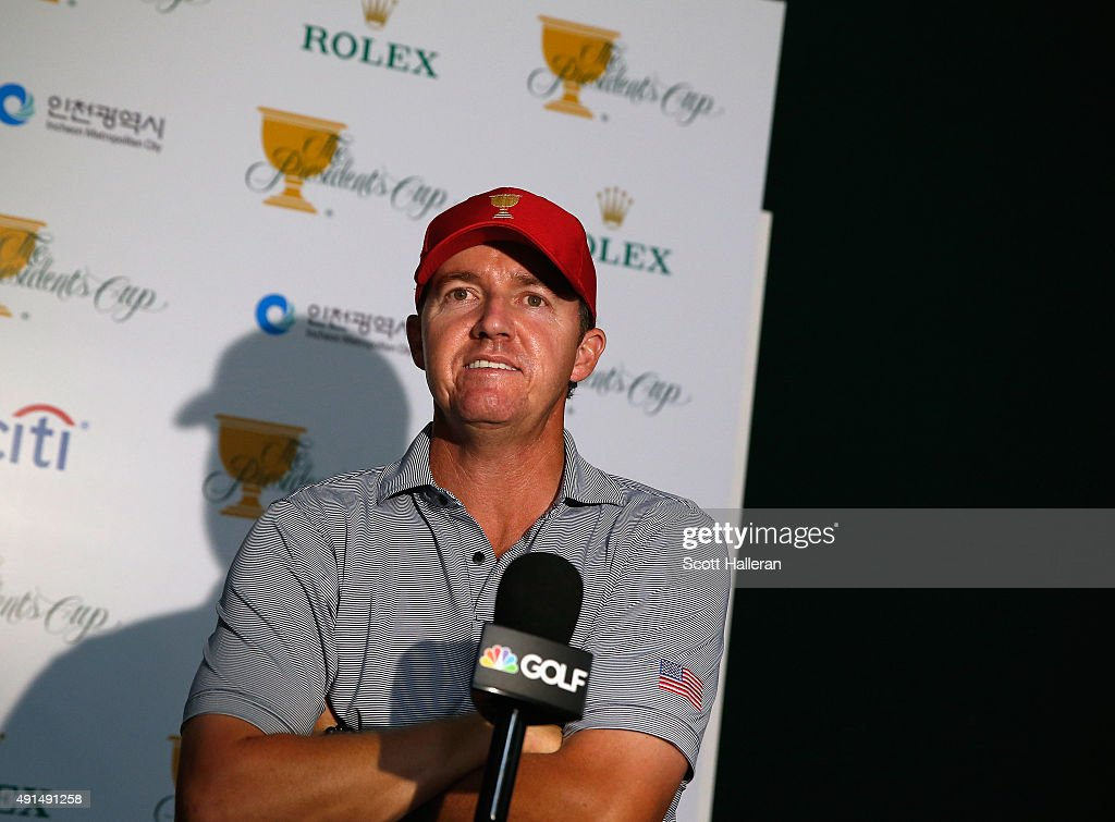 Jimmy Walker of the United States team speaks to the media prior to the start of The Presidents Cup at the Jack Nicklaus Golf Club on October 6, 2015 in Incheon City, South Korea.