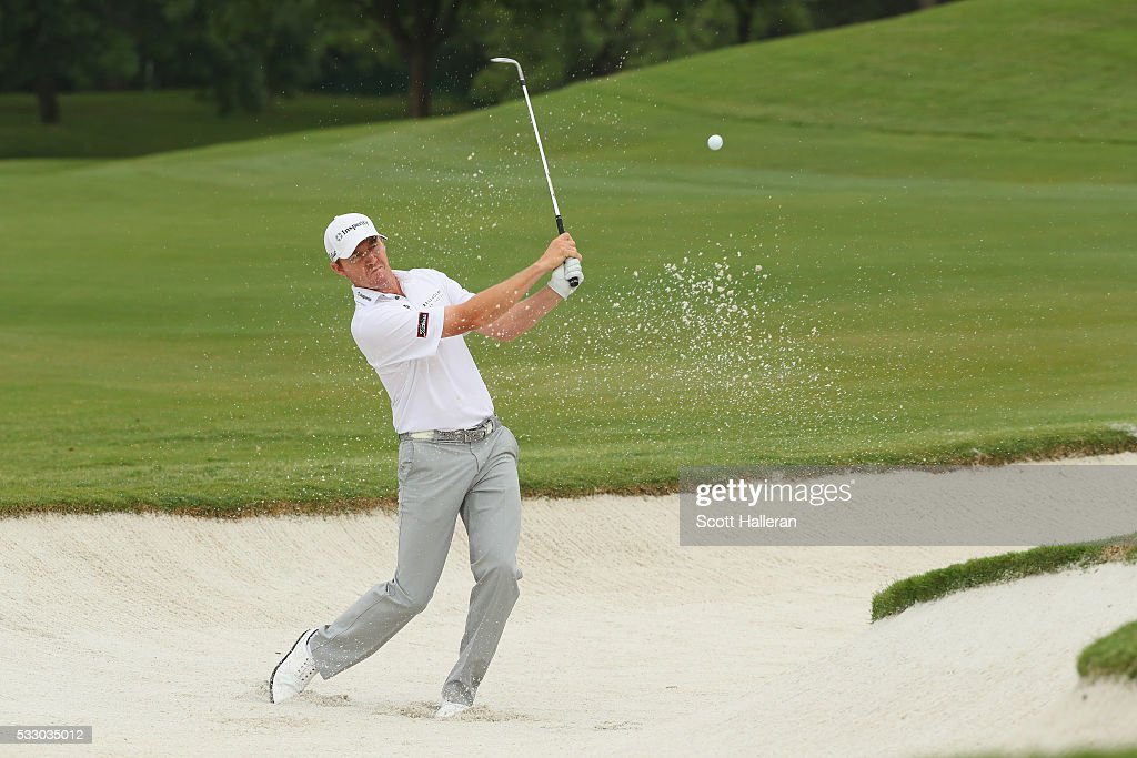 Jimmy Walker plays a shot from a bunker on the 12th hole during Round Two at the AT&T Byron Nelson on May 20, 2016 in Irving, Texas.