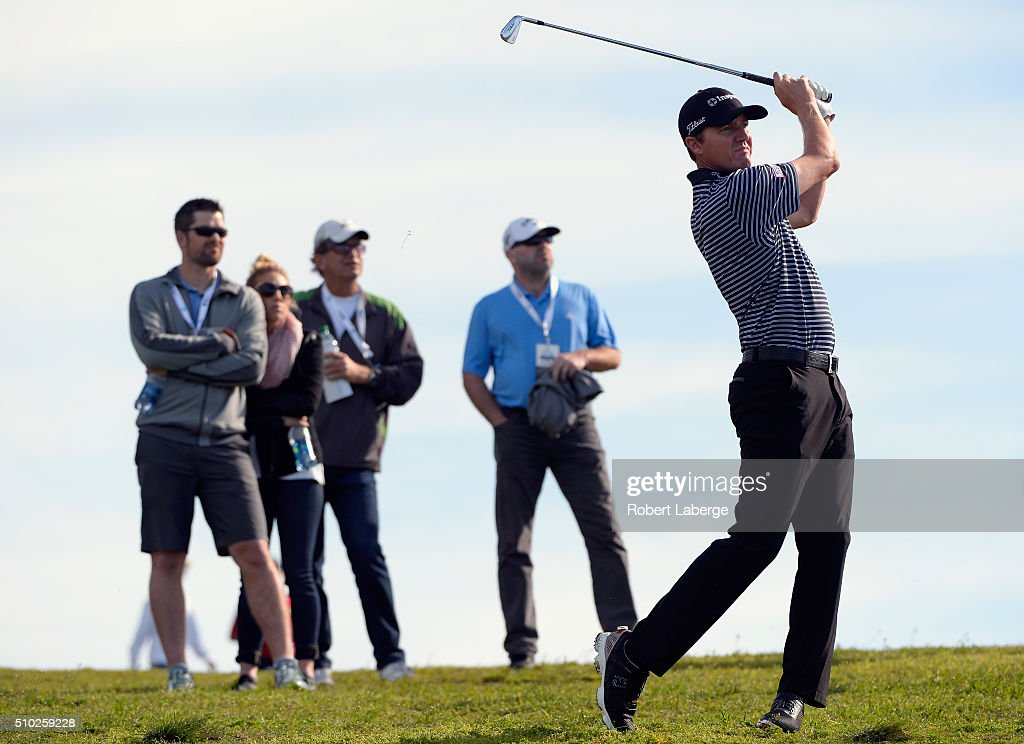 Jimmy Walker plays a shot from the rough on the sixth hole during the final round of the AT&T Pebble Beach National Pro-Am at the Pebble Beach Golf Links on February 14, 2016 in Pebble Beach, California.