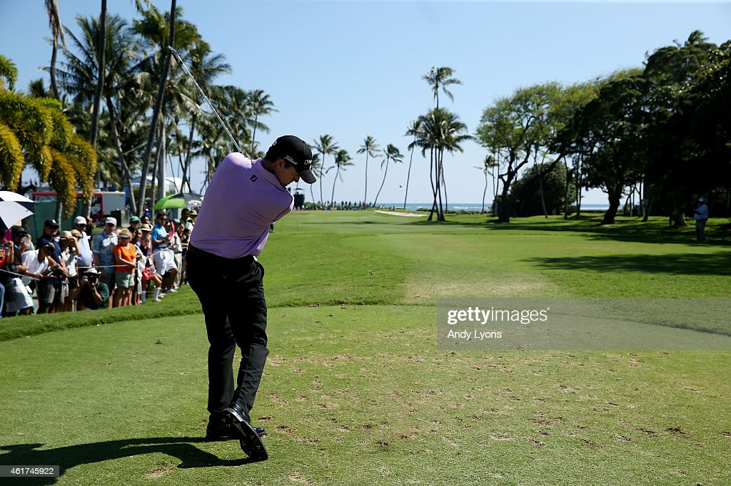 Jimmy Walker plays his shot from the 11th tee during the final round of the Sony Open In Hawaii at Waialae Country Club on January 18 2015 in...