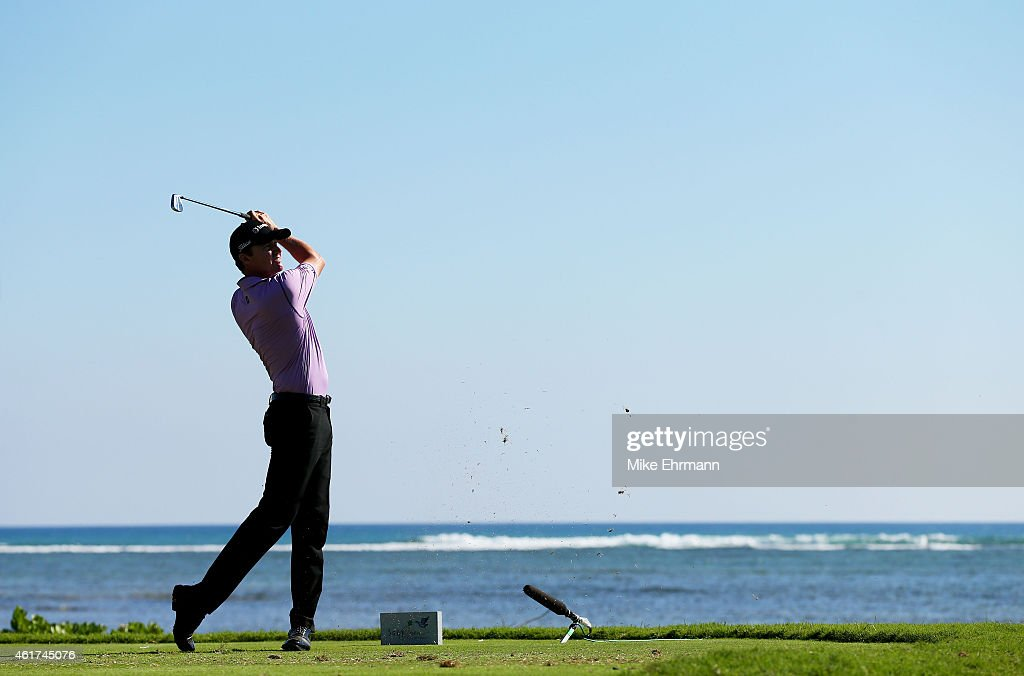 Jimmy Walker plays his shot from the 17th tee during the final round of the Sony Open In Hawaii at Waialae Country Club on January 18 2015 in...