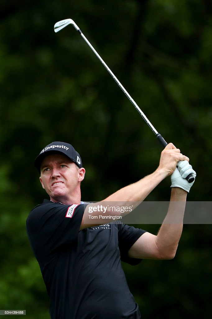 <a gi-track='captionPersonalityLinkClicked' href=/galleries/search?phrase=Jimmy+Walker+-+Golfer&family=editorial&specificpeople=11493198 ng-click='$event.stopPropagation()'>Jimmy Walker</a> plays his shot from the eighth tee during the First Round of the DEAN & DELUCA Invitational at Colonial Country Club on May 26, 2016 in Fort Worth, Texas.