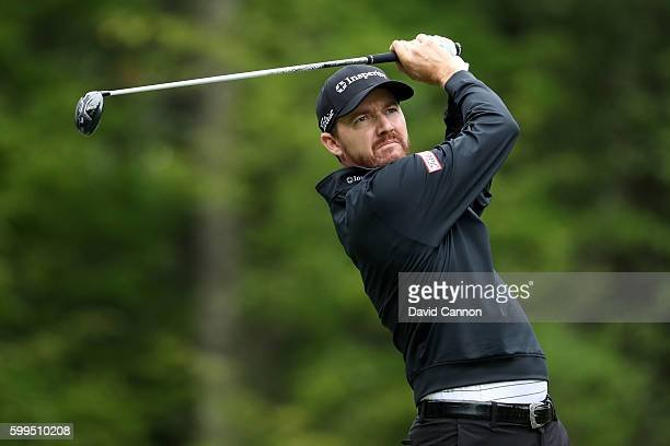 Jimmy Walker plays his shot from the fifth tee during the final round of the Deutsche Bank Championship at TPC Boston on September 5 2016 in Norton...