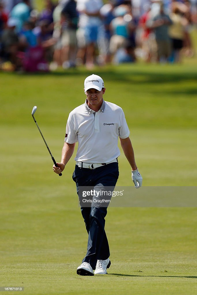 Jimmy Walker reacts after a shot on the 17th hole during the third round of the Zurich Classic of New Orleans at TPC Louisiana on April 27, 2013 in Avondale, Louisiana.