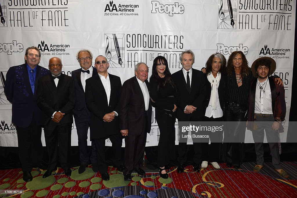 Jimmy Webb, Berry Gordy, Mick Jones, Bernie Taupin, Tony Hatch, Holly Knight, JD Souther, Joe Perry, Steven Tyler and Benny Blanco attend the Songwriters Hall of Fame 44th Annual Induction and Awards Dinner at the New York Marriott Marquis on June 13, 2013 in New York City.