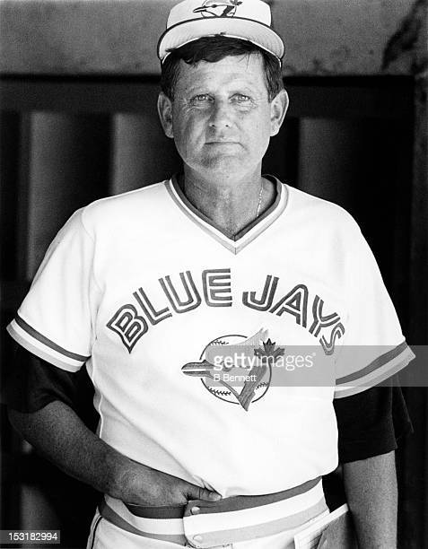Jimy Williams of the Toronto Blue Jays stands in the dugout circa 1987 at Exhibition Stadium in Toronto Ontario Canada