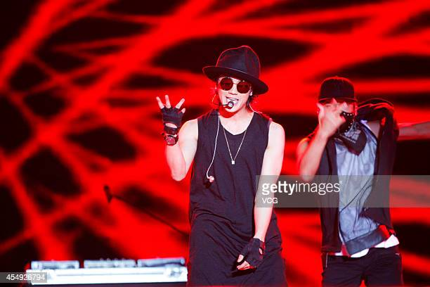 Jin Akanishi performs on stage at the Shanghai West Bund Music Festival on September 7 2014 in Shanghai China