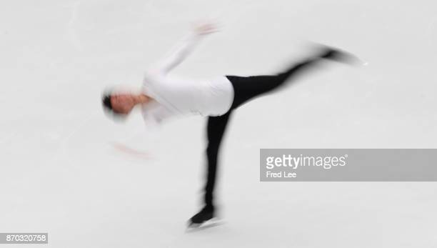 Jin Boyang of China compete in the Men Free Skating on day two of Audi Cup of China ISU Grand Prix of Figure Skating 2017 at Beijing Capital...