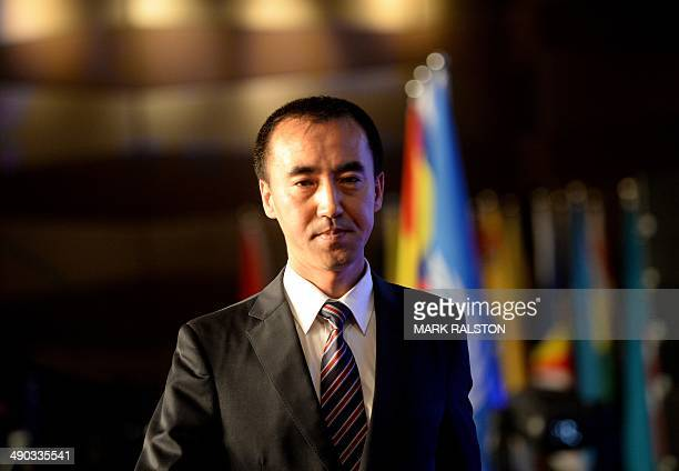 Jin Chenglong who is the chairman of the new Elephant Alliance Global Economy and Trade Platform at the launch ceremony in Beijing on May 14 2014 The...