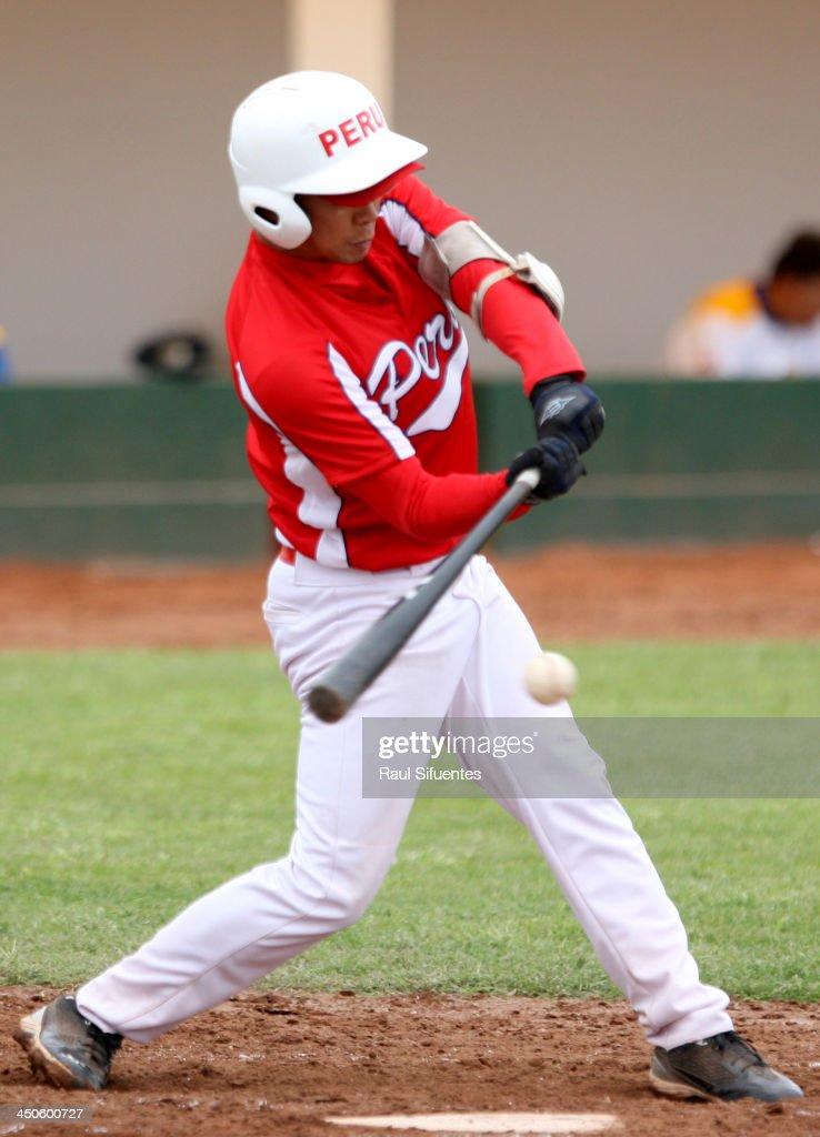 Jin Ishihara of Peru during the match between Peru and Venezuela as part of the XVII Bolivarian Games Trujillo 2013 at Villa Regional del Callao on November 19, 2013 in Lima, Peru.