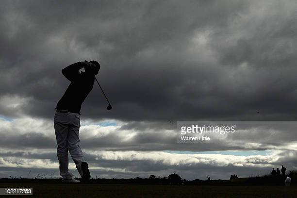 Jin Jeogn of Korea tees off on the third hole during the final against James Byrne of Scotland for The Amateur Championship at Muirfield Golf Club on...