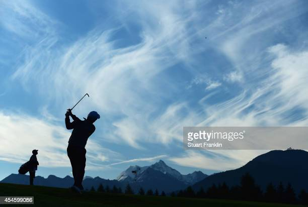 Jin Jeong of Korea plays a shot during the first round of the Omega European Masters at CranssurSierre Golf Club on September 4 2014 in CransMontana...