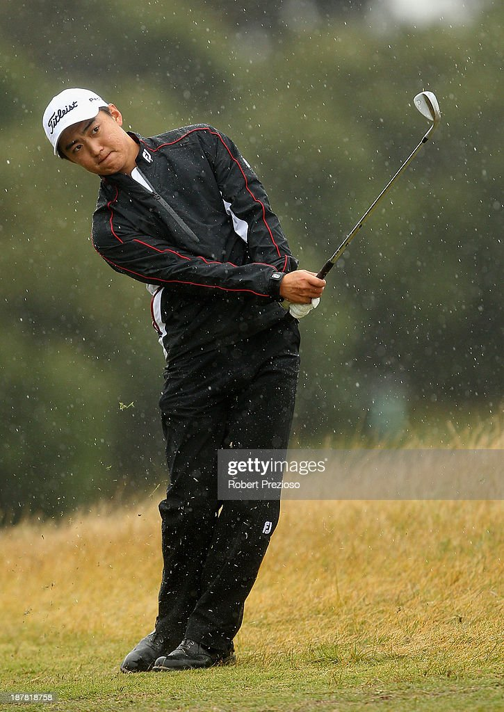 Jin Jeong of Korea plays a shot on the 6th hole during the Pro Am ahead of the 2013 Australian Masters at Royal Melbourne Golf Course on November 13, 2013 in Melbourne, Australia.