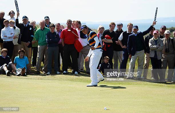 Jin Jeong of South Korea celebrates beating James Byrne of Scotland 54 to win The Amateur Championship at Muirfield Golf Club on June 19 2010 in...