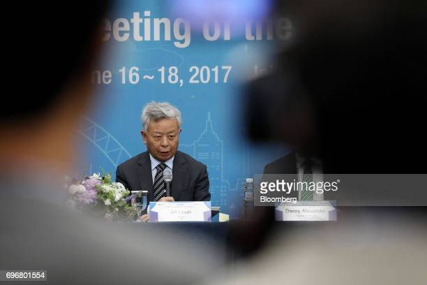 Jin Liqun president of the Asian Infrastructure Investment Bank speaks during a news conference conference at the AIIB annual meeting in Jeju South...