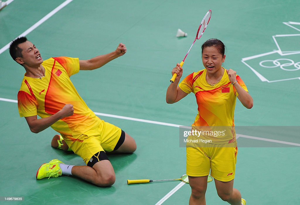 Jin Ma and Chen Xu of China celebrate beating Tontowi Ahmad and Lilyana Natsir of of Indonesia in their Mixed Doubles Badminton semi final on day 6...