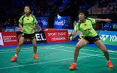 Jin Ma and Yuanting Tang of China in action in the semifinals during the Yonex Denmark Open MetLife BWF World Superseries at Odense Idratspark on...