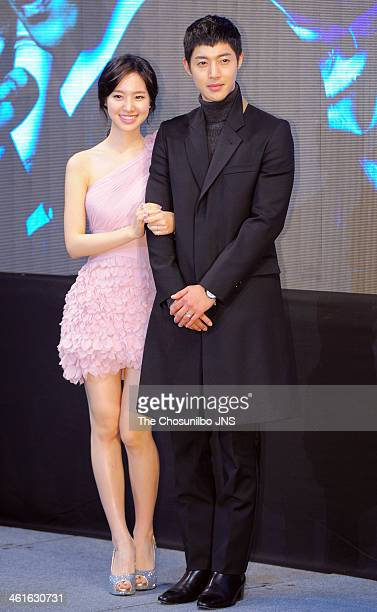 Jin SeYeon and Kim HyunJoong pose for photographs during the KBS 2TV drama 'Generation of Youth' press conference at Imperial Palace on January 9...
