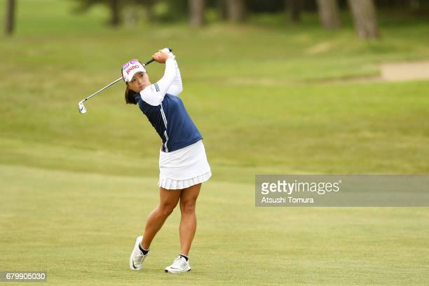 Jin Young Ko of South Korea hits her second shot on the 7th hole during the final round of the World Ladies Championship Salonpas Cup at the Ibaraki...