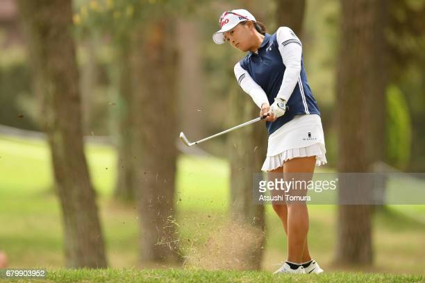 Jin Young Ko of South Korea hits her second shot on the 9th hole during the final round of the World Ladies Championship Salonpas Cup at the Ibaraki...