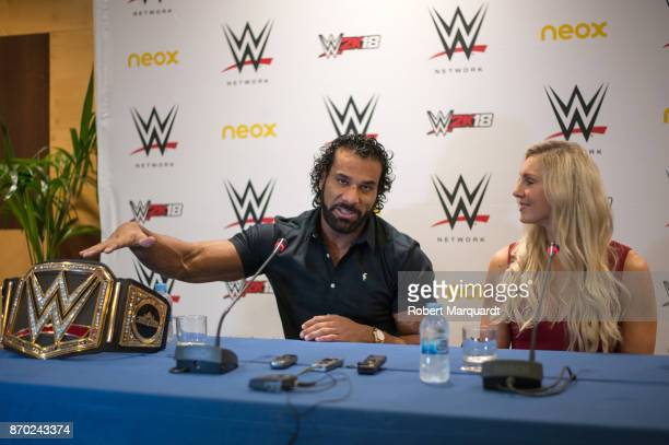 Jinder Mahal and Charlotte Flair attend a press conference for 'WWE' at the Hotel Four Points on November 4 2017 in Barcelona Spain