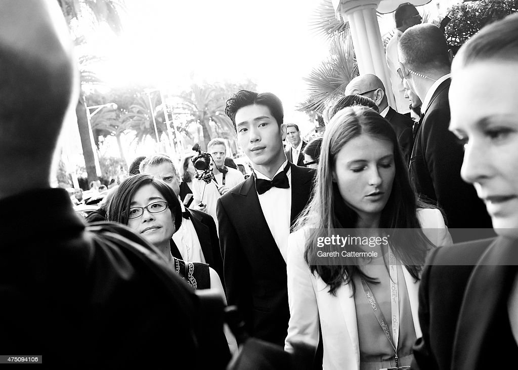 Jing Boran departs the Martinez Hotel during the 68th annual Cannes Film Festival on May 16 2015 in Cannes France