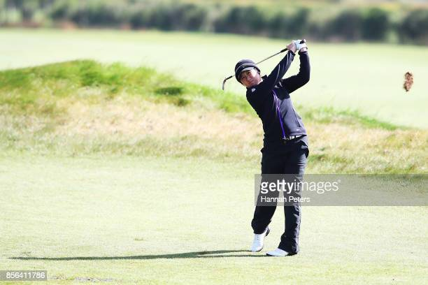 Jing Yan of China plays an approach shot during day five of the New Zealand Women's Open at Windross Farm on October 2 2017 in Auckland New Zealand