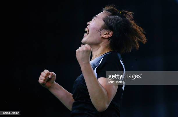 Jing Yi Tee of Malaysia celebrates victory in her women's singles badminton quarterfinal match at Emirates Arena during day nine of the Glasgow 2014...