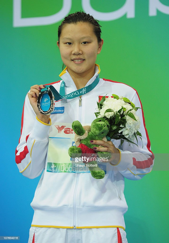 Jing Zhao (Silver) after the final of the Women's 100m Backstroke during the 10th FINA World Swimming Championships (25m) at the Hamdan bin Mohammed bin Rashid Sports Complex on December 16, 2010 in Dubai, United Arab Emirates.