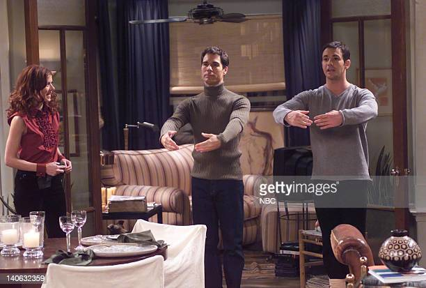 WILL GRACE 'Jingle Balls' Episode 11 Aired Pictured Debra Messing as Grace Adler Larry Sullivan as Robert Eric McCormack as Will Truman Photo by...