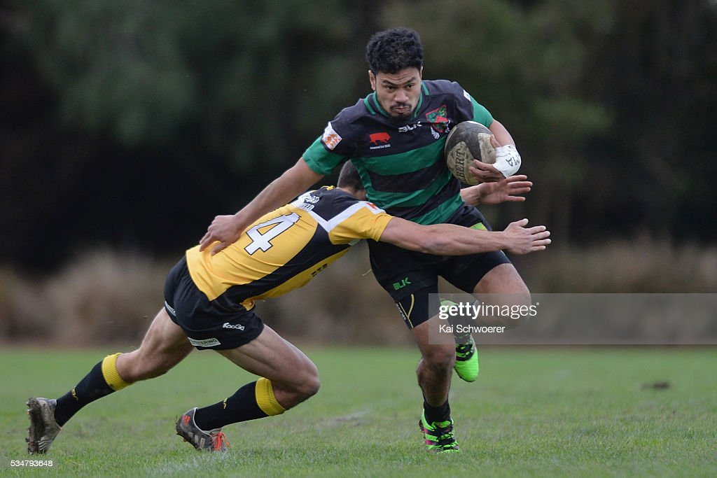 Jinho Mun of Linwood is tackled during the match between New Brighton RFC and Linwood RC on May 28, 2016 in Christchurch, New Zealand.