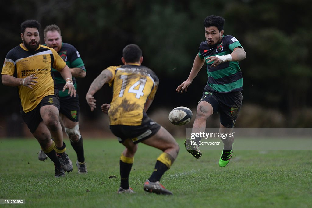 Jinho Mun of Linwood kicks the ball during the match between New Brighton RFC and Linwood RC on May 28, 2016 in Christchurch, New Zealand.