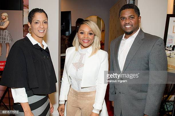 Jini Davis Thornton author and hairstylist Gocha Hawkins and entrepreneur/life coach Kenny Pugh attend 'LA Hair' watch party book launch at Gocha...