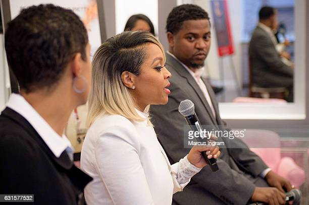 CPA Jini Davis Thornton author and hairstylist Gocha Hawkins and entrepreneur/life coach Kenny Pugh on stage during the 'LA Hair' watch party book...