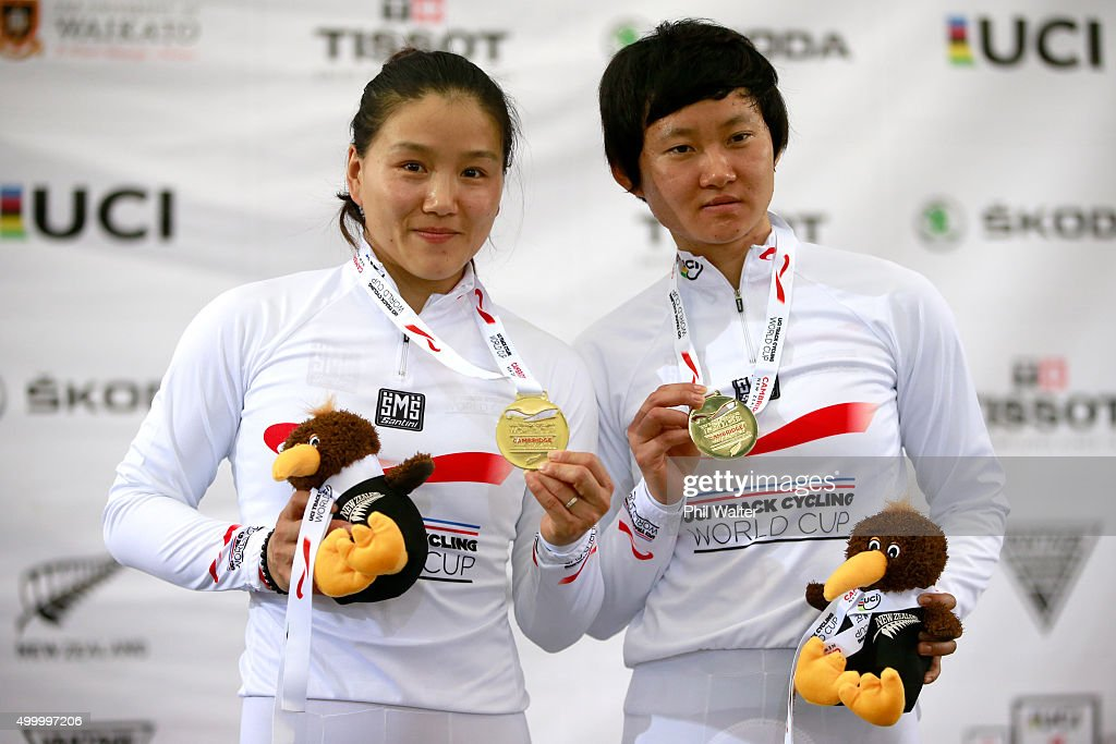 Jinjie Gong and Tianshi Zhong of China celebrate their gold medal in the Womens Team Sprint during the 2015 UCI Track Cycling World Cup on December 5, 2015 in Cambridge, New Zealand.