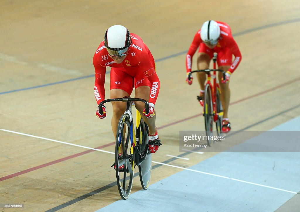 Jinjie Gong and Tianshi Zhong of China win Gold in the Women's Team Sprint Final during day one of the UCI Track Cycling World Championships at the National Velodrome on February 18, 2015 in Paris, France.