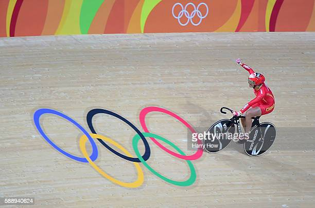 Jinjie Gong and Tianshi Zhong of Team China celebrates winning the gold medal after beating Team Russia in the Women's Team Sprint final for gold on...