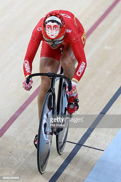 Jinjie Gong and Tianshi Zhong of Team China competes in the Women's Team Sprint First Round on Day 7 of the Rio 2016 Olympic Games at the Rio Olympic...