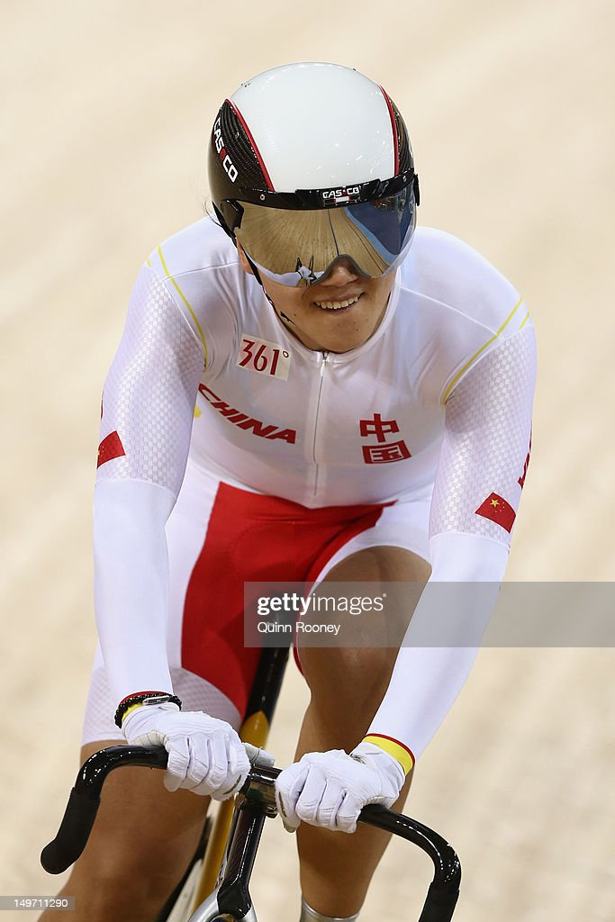 Jinjie Gong of China competes during the Women's Sprint Track Cycling Qualifying on Day 6 of the London 2012 Olympic Games at Velodrome on August 2, 2012 in London, England.