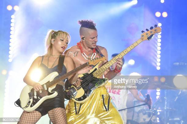 JinJoo Lee and Cole Whittle of DNCE perform at the annual Isle of MTV Malta event at Il Fosos Square on June 27 2017 in Floriana Malta