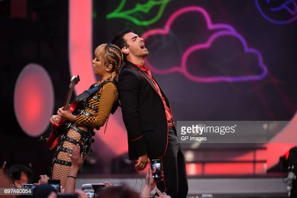 JinJoo Lee and Joe Jonas of DNCE perform at the 2017 iHeartRADIO MuchMusic Video Awards at MuchMusic HQ on June 18 2017 in Toronto Canada