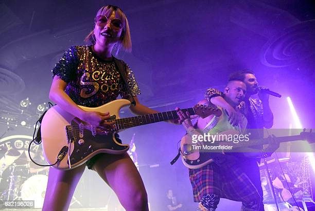 JinJoo Lee Cole Whittle and Joe Jonas of DNCE perform in support of the band's self titled release at Ace of Spades on January 19 2017 in Sacramento...