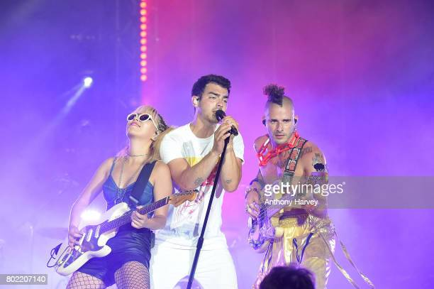 JinJoo Lee Joe Jonas and Cole Whittle of DNCE perform at the annual Isle of MTV Malta event at Il Fosos Square on June 27 2017 in Floriana Malta