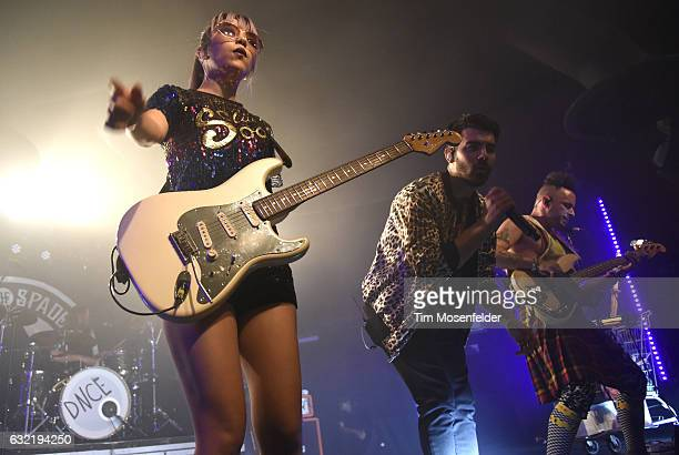 JinJoo Lee Joe Jonas and Cole Whittle of DNCE perform in support of the band's self titled release at Ace of Spades on January 19 2017 in Sacramento...