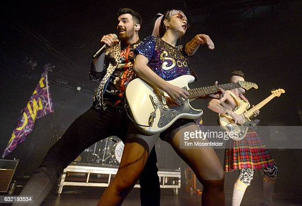 JinJoo Lee Joe Jonas and Cole Whittle of DNCE performs in support of the band's self titled release at Ace of Spades on January 19 2017 in Sacramento...