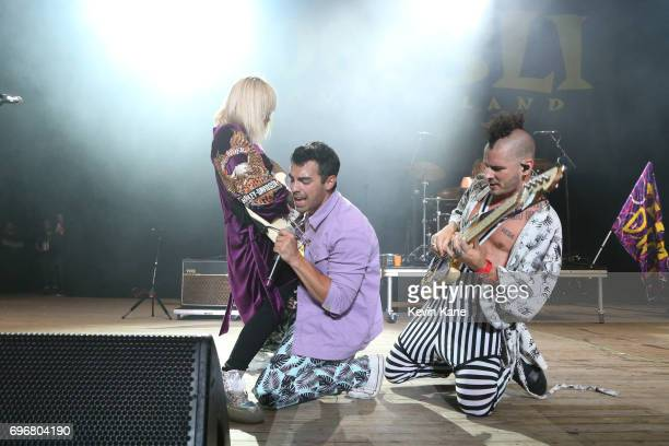 JinJoo Lee Joe Jonas Cole Whittle of DNCE perform on stage during the 2017 BLI Summer Jam at Nikon at Jones Beach Theater on June 16 2017 in Wantagh...