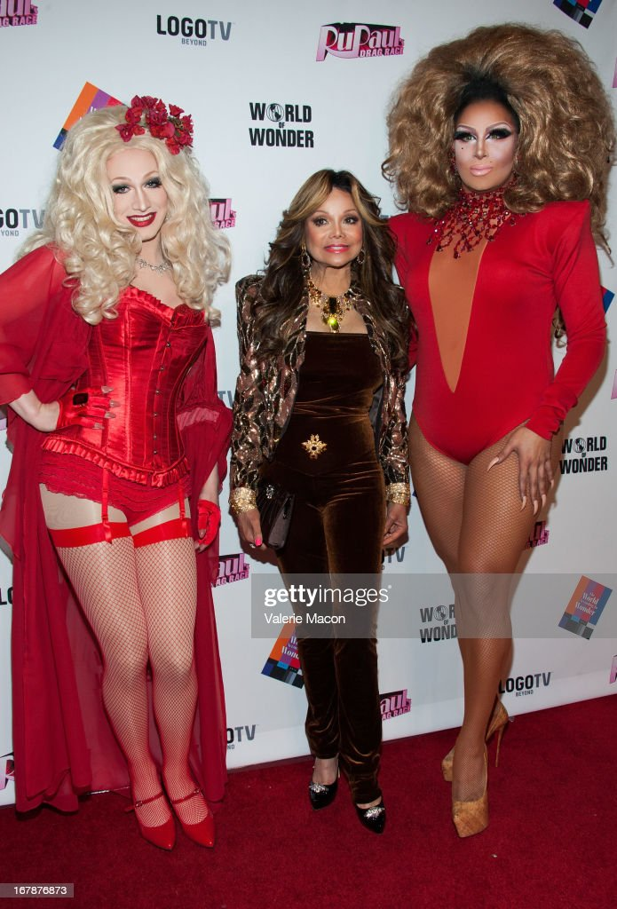 Jinkx Monsoon, La Toya Jackson and Roxxxy Andrews attends the Finale, Reunion & Coronation Taping Of Logo TV's 'RuPaul's Drag Race' Season 5 on May 1, 2013 in North Hollywood, California.