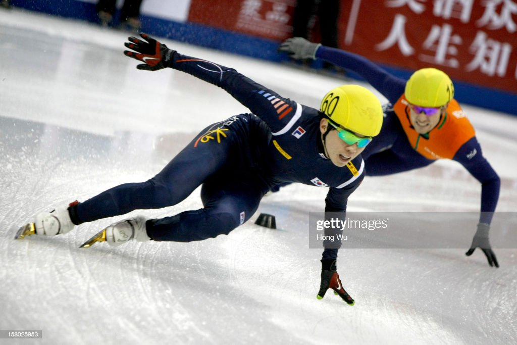 Jinkyu Noh of Korea competes in the Men's 5000m Relay Final during the day two of the ISU World Cup Short Track at the Oriental Sports Center on December 9, 2012 in Shanghai, China.