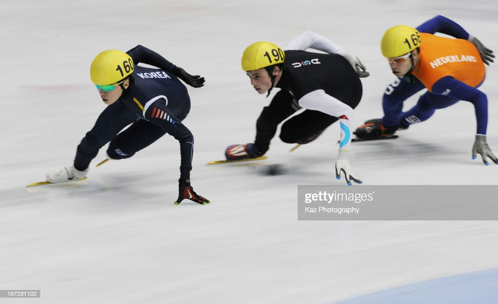 Jinkyu Noh of Korea leads in Race 4 of Men 1500(2) Heats during day one of the ISU World Cup Short Track at Nippon Gaishi Arena on November 30, 2012 in Nagoya, Japan.